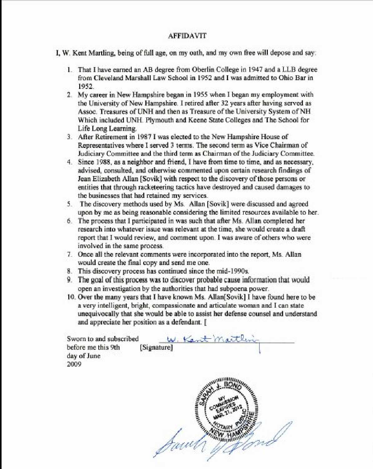 RE Complaint Petition of Licensee Misconduct of Dr – Affidavit Statement of Facts